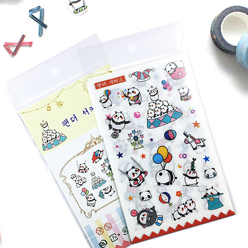 6 sheets/lot Lovely Panda paper sticker DIY scrapbooking diary album sticker post stationery school supplies 02