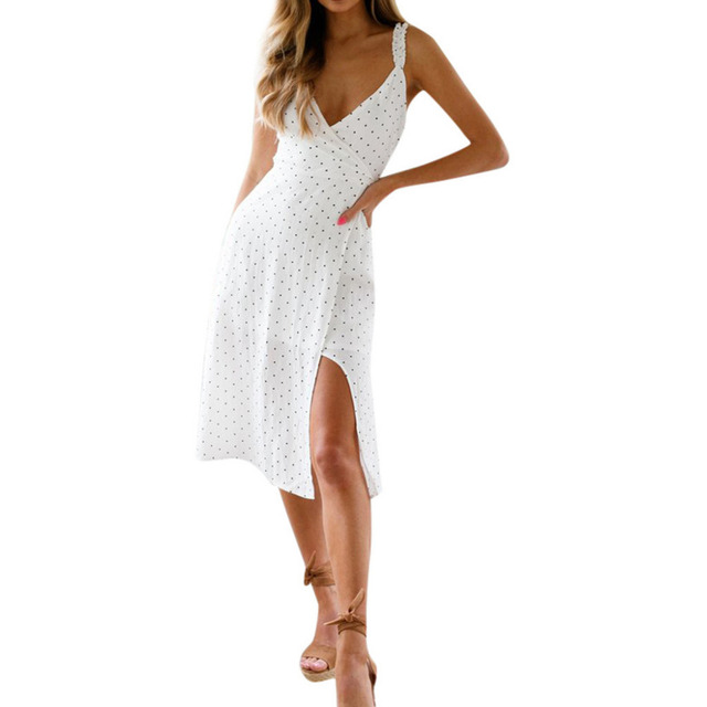 feitong women Summer Dots Print Sleeveless Party Bohemia Beach sexy Dress 2019