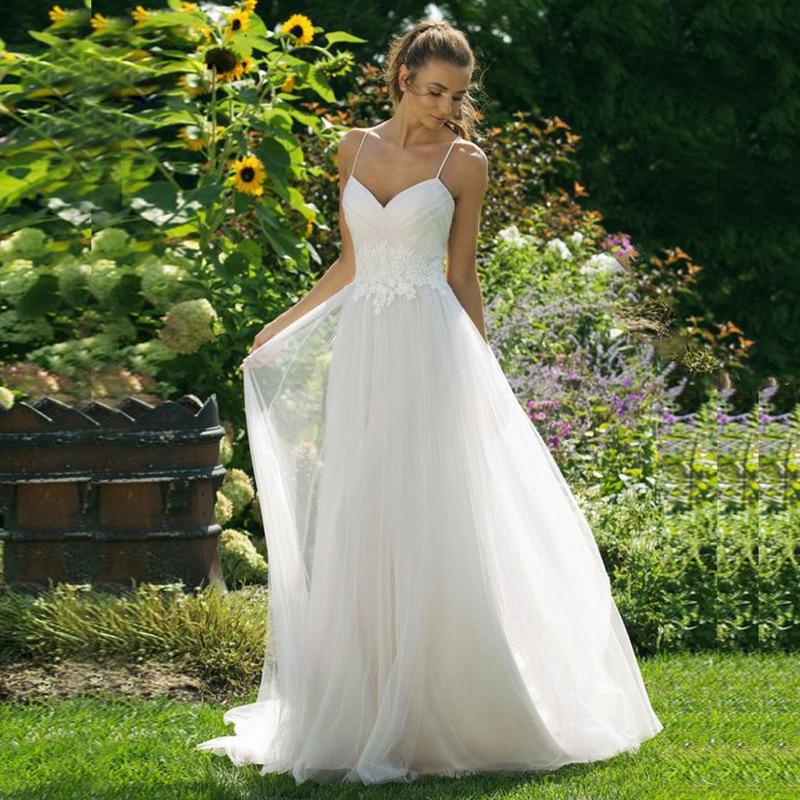 Boho Beach Wedding Dress Appliques Lace Sexy Spaghetti Straps Backless Wedding Gown Elegant Simple Bride Dress