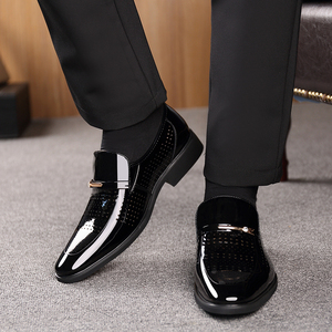 Image 5 - 2019 Summer Pointed Toe Men Dress Shoes Breathable Black Wedding Shoes Formal Suit Office Shoes Man Patent Leather Oxfords