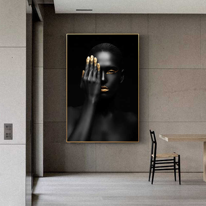 Schöne Schwarz Modell Goldene Finger Lip Leinwand Kunst Malerei Sexy Schönheit Mode Große Poster Wand Kunst Wohnzimmer Tableaux Salon