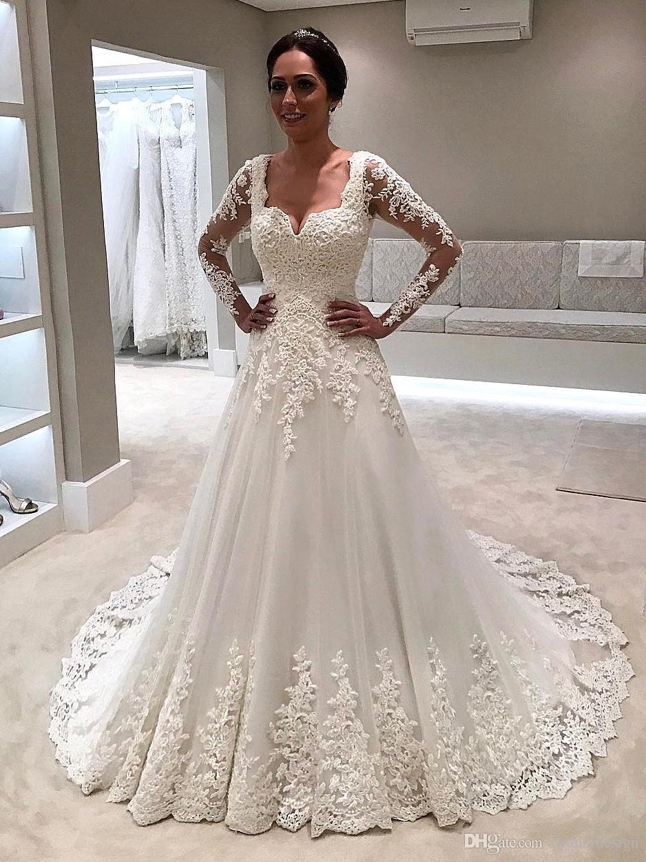 2019 Wedding Dresses New Arrival Gorgeous Square Neck Lace A Line Lace Appliqued Long Sleeves Sweep Train Wedding Bridal Gowns