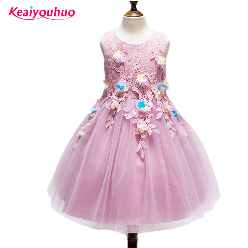 2018 new  Flower Girl Party Dresses summer Kids Wedding Dresses for Girls Toddler Lace Ball Gown Children Tulle Costume 4pcs new for ball uff bes m18mg noc80b s04g