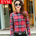 2017 New Women loose blouses thick warm cotton long-sleeved blouse 100%cotton flannel plaid shirt Women Tops plus size 21 colors