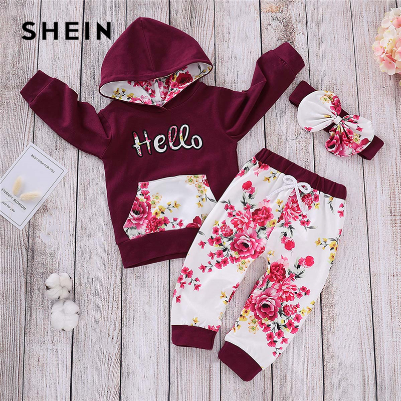 SHEIN Kiddie Toddler Girls Letter Print Hoodie And Pants With Headband 2019 Spring Long Sleeve Casual Girls Clothes Set shein kiddie toddler girls hoodie and floral print pocket drawstring pants with headband girls set long sleeve casual girl suit