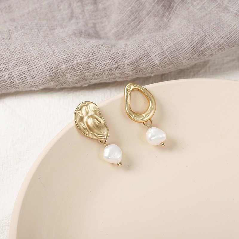 ใหม่แฟชั่นไม่สม่ำเสมอต่างหูไข่มุกจำลองสีทองโลหะเรขาคณิตหูของขวัญเครื่องประดับสำหรับงานแต่งงาน Brincos