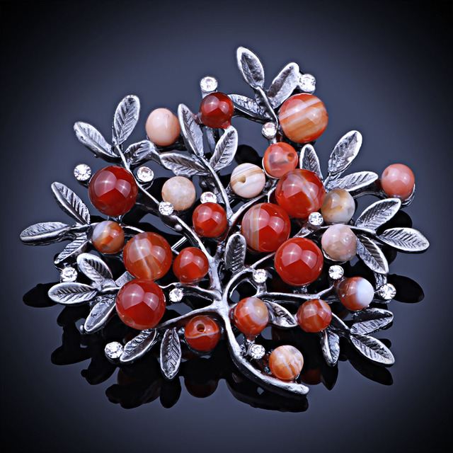 Black Gun Plated Natural Stone Beads brooches Pins vintage brooch for women party dress