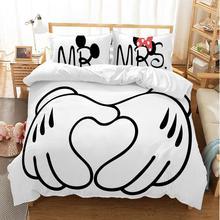 ดิสนีย์การ์ตูนMickey Minnieชุดผ้าปูที่นอนคู่น่ารักQueenชุดเครื่องนอนเด็กผ้านวมหมอนกรณี