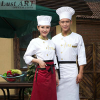 White Long sleeve Chef Jacket Uniforms Kitchen uniform cook suit Tops Food Services Single Breasted Cooking Clothes BB072