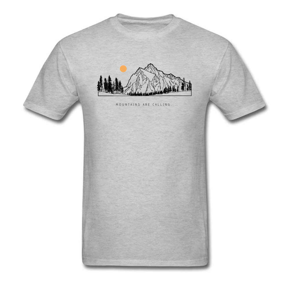 Tops Shirts Mountains are Calling Autumn Hot Sale Unique Short Sleeve Pure Cotton Round Neck Mens T-shirts Unique Tee Shirt