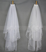 2 Layers white Ivory Beading Sequines Elbow Length Satin Edge Wedding Bridal Veil with Comb