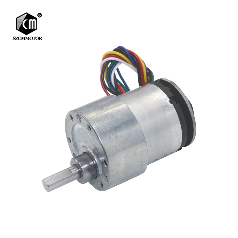 цена на Eccentric Shaft 37mm Diameter Geared Motors 12V 24V 7RPM to 1590RPM DC Gear Motor With 2 phases signal feedback Encoder