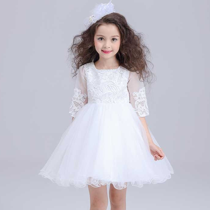White Mini Formal Girl Dress Half Sleeve Christmas Girl Party