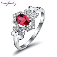 Fashion Jewelry Vintage Oval 5x7mm Solid 18Kt White Gold Natural Diamond Ruby Engagement Ring WU256