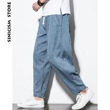Sinicism Store Plus Size Cotton Linen Harem Pants Mens Jogge