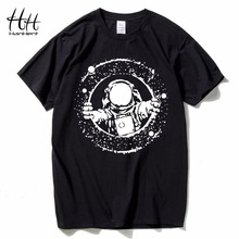 HanHent explore the space T shirts Men 2018 New Summer Cotton Tops Tees Short Sleeve T-shirts Man's Novelty Black Casual shirt