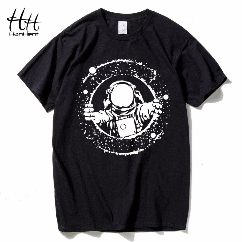 HanHent explore the space T shirts Men astronaut 2018 Cotton Tops Tees Loose Short Funny T-shirts Man's Black Custom shirt Boys