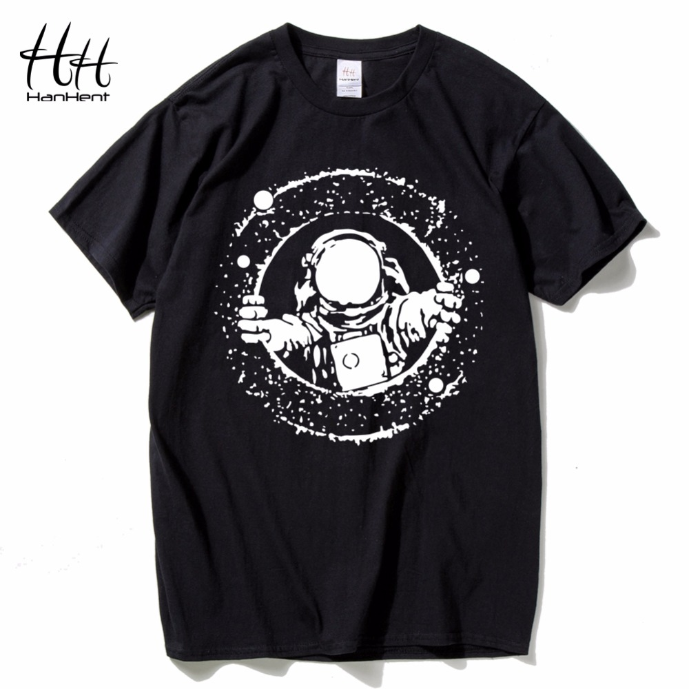 HanHent explore the space T shirts Men astronaut 2018 Cotton Tops Tees Loose Short Funny T-shirts Man's Black Casual shirt Boys