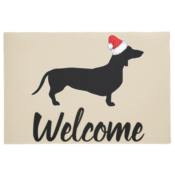 Novelty Funny Dachshund with Christmas Hat Welcome Door Mats Quirky Xmas Home Decor Gifts Puppy Dogs