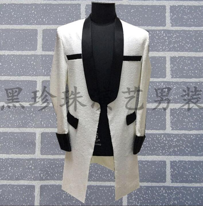 Korean Men Suits Designs Masculino Homme Terno Stage Costumes For Singers Men Sequin Blazer Dance Clothes Jacket Style Dress