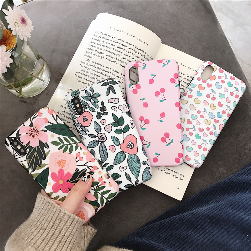 Fresh petals Soft Silicone Phone Case For iphone 7 8 6s 6 8plus Love Cherry for X XR XS MAX Cover Coque