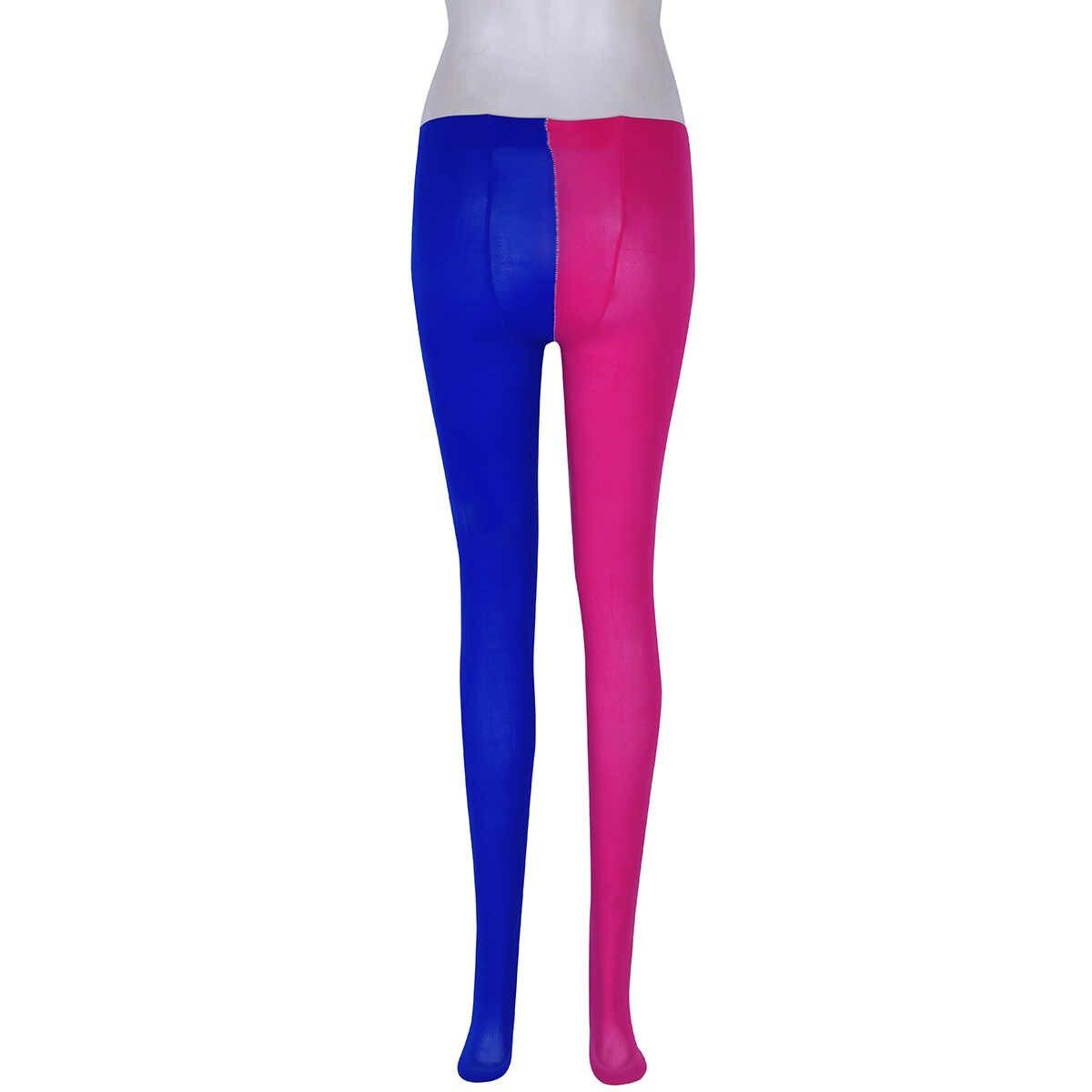 ユニセックス女性タイツ男性ストッキングフル足女性ストッキング 2 トーン道化師衣装補強つま先