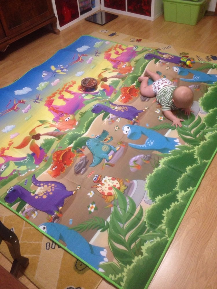 HTB1XyGTkCfD8KJjSszhq6zIJFXaB Baby Crawling Play Mat 2*1.8 Meter Climb Pad Double-Side Fruit Letters And Happy Farm Baby Toys Playmat Kids Carpet Baby Game