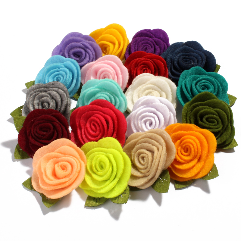 10PCS 5CM Felt Nonwovens Fabric Flower With Green Leaves For Headband Cute Rolled Rose Hair Flowers For Apparel Accessories