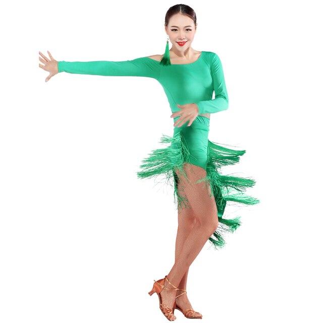 Mujer de Encaje Sexy Vestido de Baile Latino Vestido Latino Con Borlas del  Vientre Traje de 698a607c7c3
