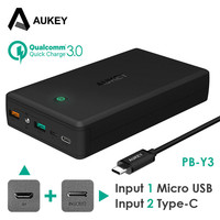 AUKEY Quick Charge 3.0 Power Bank 30000mAh Dual USB Powerbank With Type C External Battery Mobile Phone Tablet USB C Poverbank