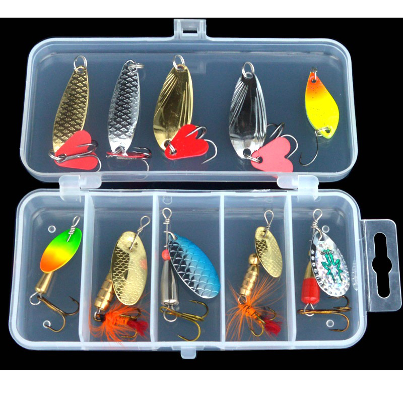 Fishing Lure Kit Compound Bait 10 Pieces/Set Artificial Spoon Lures Colorful Rotation Spinner Baits