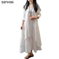 Plus Size 4XL Long Sleeve Long Cotton Linen Dress Asymmetrical Casual Maxi Dress Womens Clothes Vestidos