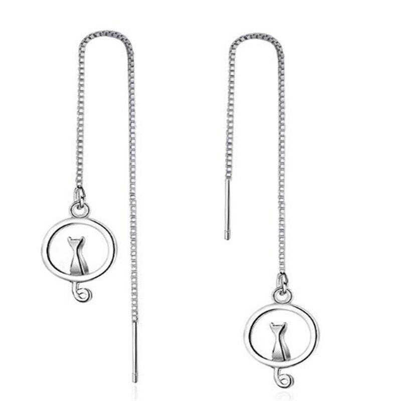 Mode 925 Sterling Argent Lune Chat de Baisse Boucle D'oreille Ronde Gland Conception Boucle D'oreille Pour Les Femmes Balancent Bijoux En Argent