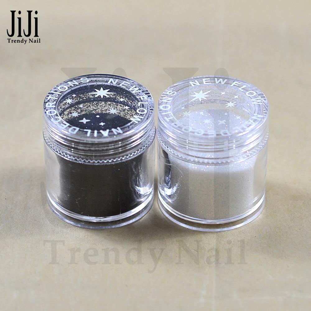Trendy Nail 1 Bottle 10g Black/White Colors 3D Nail Glitter Acrylic Glitters Powder Tips Nail Art Decorations JI26/48