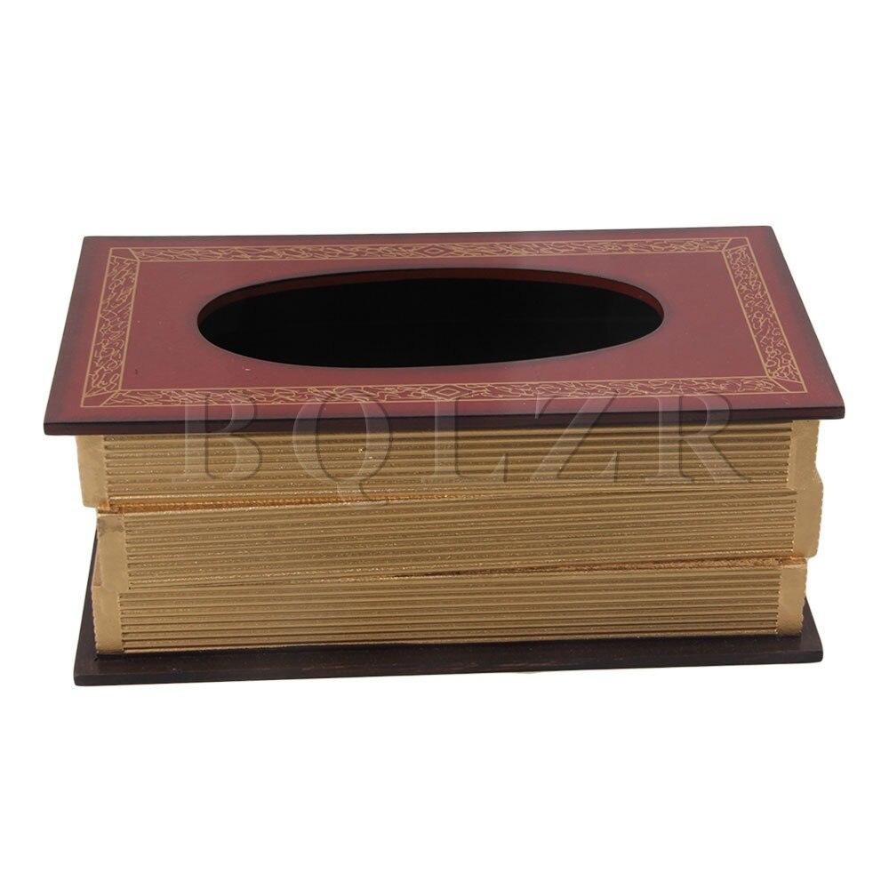 BQLZR Red Europe Style Retro Book Shape Tissue Box Cover Wooden Dispenser Box