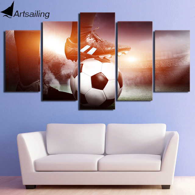 Wall art canvas painting 5 piece hd print football game framed modular posters and prints canvas