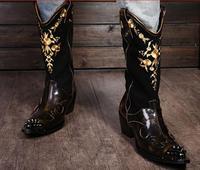 Рок личности человека рыцарские сапоги мотоциклетные сапоги кожаные ковбойские сапоги кожаные мужские туфли EU38 46