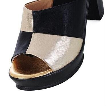 Vache Peau Chaussures Dames Taille La Épais Sandales Plus Femelle Bout Cuir En Véritable Douces De Schoenen À 61 Ouvert Femmes Or Belles Talon Pantoufles 551qwrT