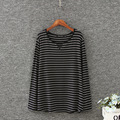 2016 Spring New Arrivals Fashion black White Round Neck Long Sleeve Striped Loose Tops Womens Casual Simple T-Shirt