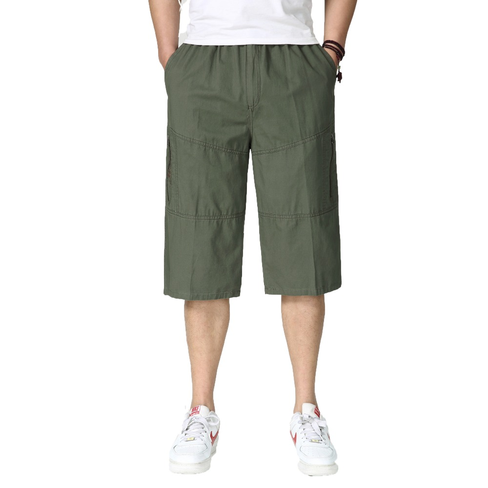 Men Casual Cropped Pants Fashion Loose Fitting Comofort Streetwear Male Leisure Army Green Black Khaki Cotton Crop Trouser Man