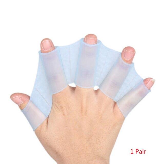 1 par de fajas de silicona de alta calidad Unisex tipo aletas de mano de natación guantes de correas de dedo paleta deportes acuáticos