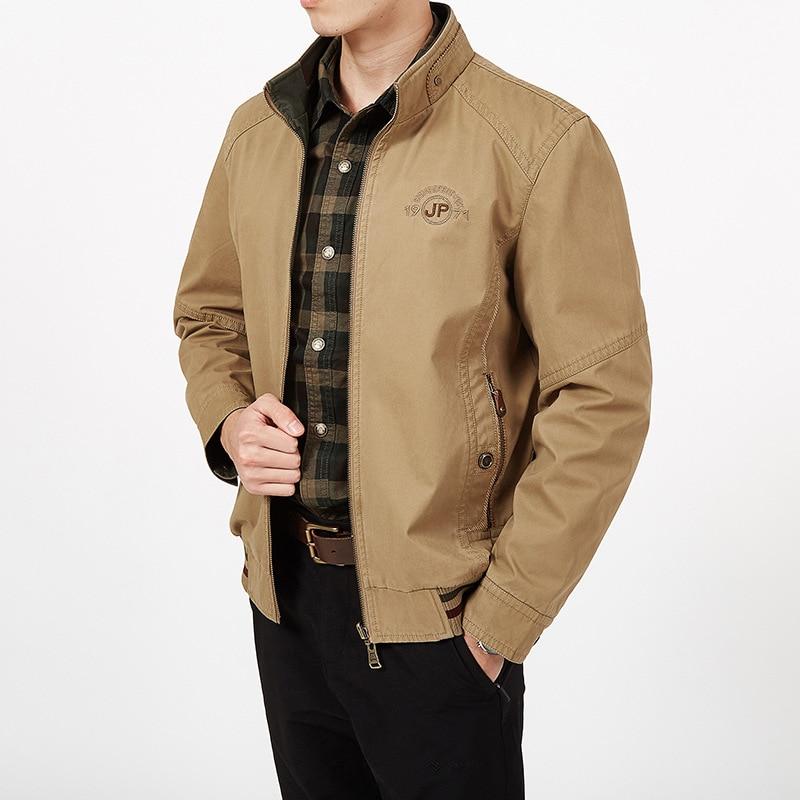 Erkek Kıyafeti'ten Ceketler'de Artı Boyutu 7XL 8XL Erkek ceket Ve Mont Bahar Yeni Askeri Ceket Standı Fermuar Yaka Her Iki Tarafın Giymek erkek pamuk Giyim'da  Grup 1