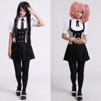 Anime Inu x Boku SS Ririchiyo Shirakiin Cosplay Plaids Dress Full Set (Shirt+Skirt+Tie+Stockings) School Uniform Dresses Costume