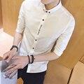2016 Novo Design de Sarja de Algodão Puro Cor Branca Formal do Negócio Camisas De Vestido Dos Homens Da Moda Camisa de Manga Longa