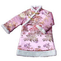 Peony Floral Baby Girl Dresses Coats Children Qipao Clothes Winter Outerwear Sping Festival Cheongsam Outfits Chi Pao Dress Top