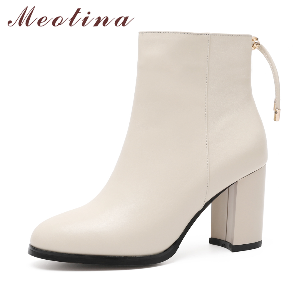 Meotina Natural Genuine Leather Boots Women Winter Block Heel Ankle Boots Bow Real Leather Short Boots Beige Black High Heels