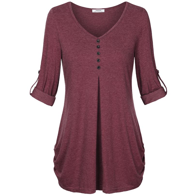 HTB1XyHnPFXXXXcLXpXXq6xXFXXXR - New Women Summer T-shirt Button Long Sleeve Female