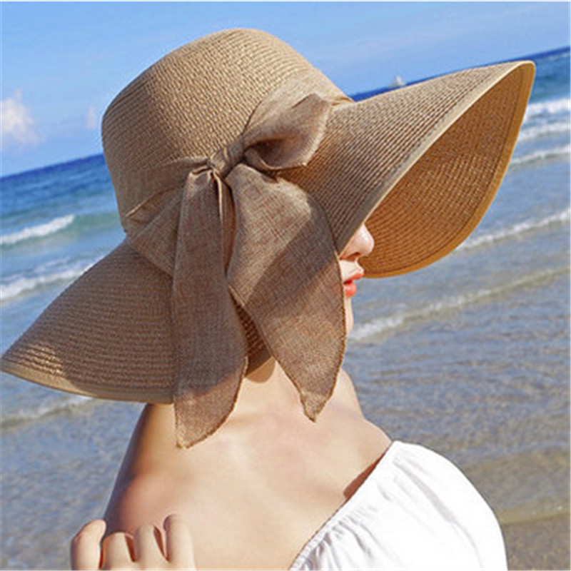 Hot Sale Summer Sun Tops For Women Big Brim With Ribbons Bow Beach Hat Cap Ladies Sun Hat UV Protect Chapeu Feminino