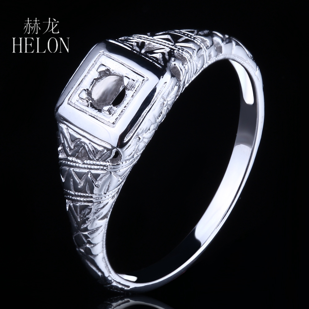 HELON Round 2.75-3.25mm Semi-Mount Ring Setting Soild 14K White Gold Vintage Antique Engagement Wedding Ring Women Jewelry RingHELON Round 2.75-3.25mm Semi-Mount Ring Setting Soild 14K White Gold Vintage Antique Engagement Wedding Ring Women Jewelry Ring
