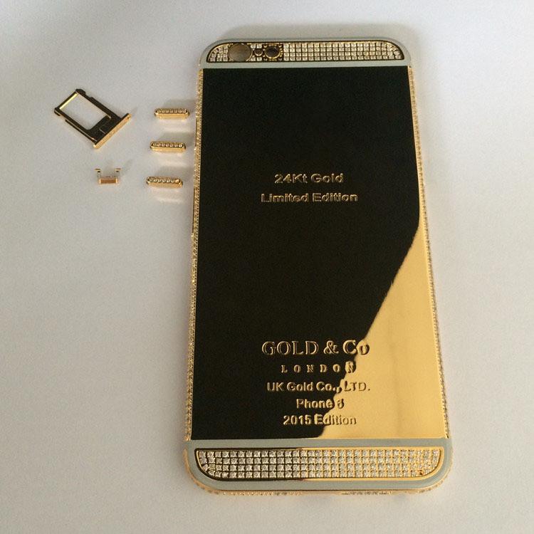 Luxury Custom For Iphone 6 Plus 24k 24kt 24ct Gold Plated Crystal Diamond Bezel Chassis Back Cover Housing Case Replacement Custom Shielding Custom Exercisediamond Velvet Aliexpress